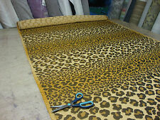 LEOPARD ON STRIPE NATURAL DESIGNER CURTAIN / UPHOLSTERY FABRIC