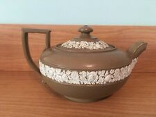 Wedgwood Drabware Teapot With Lid RARE Antique Jasperware Marked