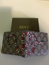 @_@NWT:Men's Authentic GUCCI Snake GG Canvas Webbing Bifold Monogram Wallet