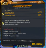 Borderlands 3 PS4 Lvl 65 Ice Breaker Victory Rush God Rolled Artifact Set SMG