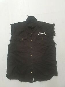 Vintage metallica sleeveless button down shirt flaming Pushead skull Biker