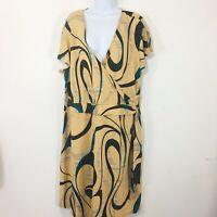 Rag Womens Dress Sz 3X Brown Tan Blue Print Short Sleeve Career V Neck MQ32