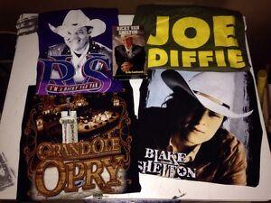 Lot Of 4 Vintage Country Artist Shirts Large  Blake Shelton, Joe Diffie, VHS RVS