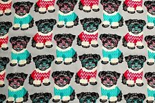 """YORKSHIRE DOGS/PUPPY WEARING SWEATERS & GLASSES FLEECE MATERIAL  2 YDS 60x72"""""""