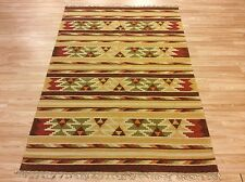 Antique look Hand-woven Tribal Kilim Rusty Beige 100% Wool Rug 122x177cm 50% OFF