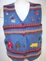 Bobbie Brooks Blue Denim Sleeveless Button V-Neck Vest Womens Size Large 12 14