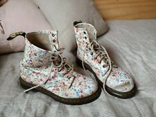 Dr Martens Boots Womens Size 39 UK 6 US 8 White Floral Leather