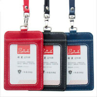 PU Leather Work ID Bus Card Badge Cover Case Wallet Holder With Neck Lanyard New