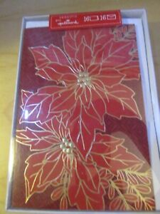 Hallmark Poinsettias Christmas Cards Red Gold Boxed 4.5 x 6.5 Seasons 16 Ct NEW