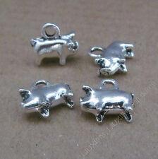 15pc Charms Retro Pig Animal Pendant Bead DIY Jewelry Making Small Pendants 643H