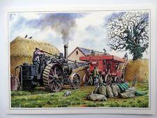 Nostalgic Men Threshing Steam Engine Farm Hay Design Open Blank Birthday Card