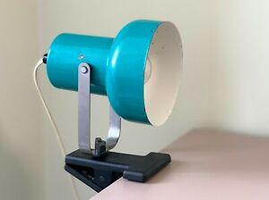Teal Clip On Studio Utility Lamp Soviet Vintage 1980s Work Light Retro Studio