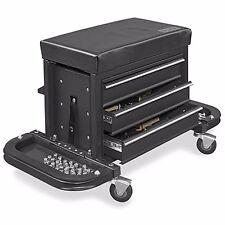 Uline Mechanic's Rolling Tool Chest Seat, Black, Foam Padded, Tool Box Metal NEW