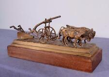 French Antique Bronze Sculpture of a Team of Oxen Pulling a Farm Plow