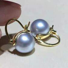 Gorgeous AAA++ 9-10mm Real natural Akoya GRAY round pearl earrings 18k Gold
