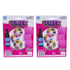 2x Gemex Refill Jewellery/clips Making Kit Magic Liquid/mold/gems Kids Girls 5y