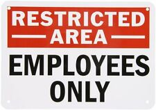 "SmartSign Aluminum Sign, Legend ""Employees Only"", 7"" high x 10"" wide, Black/Red"