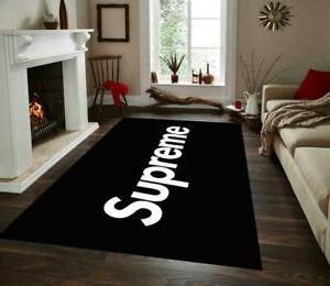 Supreme Rug,Black And white Rug,Fan Rug,Area Rug NonSlip Floor Carpet,Teen's Rug