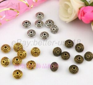 100pcs Tibetan Silver & Gold & Bronze Tone Tiny, Charms Spacer Beads 7MM A784