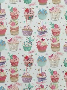 2 SHEETS OF THICK GLOSSY FEMALE BIRTHDAY WRAPPING PAPER (CUPCAKES)