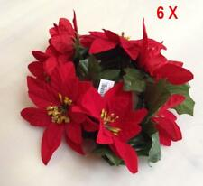 "(Pack of 6) Red Microfiber Poinsettia Candle 6.5"" Ring Pillar Taper Christmas"
