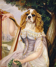 CAVALIER KING CHARLES ENGLISH TOY SPANIEL DRESSED DOG COMIC ART PRINT
