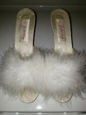 Vintage Fredericks of Hollywood White Satin Marabou Feathers Boudoir 10 heels