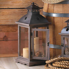 "LANTERN: 18.5"" Tall Large MONTICELLO Wood Metal and Glass Candle Lamp NEW"