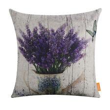 18'' Retro Purple Lavender Rustic Vase Pillow Case Cushion Cover Home Decor
