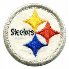 """1970'S PITTSBURGH STEELERS NFL FOOTBALL 2"""" ROUND TEAM LOGO PATCH SILVER BORDER"""