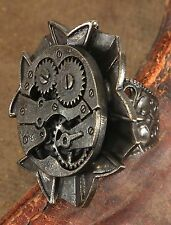Steampunk Ring Adjustable Metal Antique Gold Ring W/ Gear Design One Size Adult