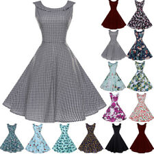 Women Vintage 1950's Rockabilly Retro Pinup Swing Prom Ball Party Evening Dress