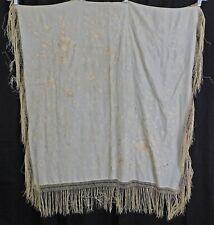 Victorian Antique Cream Silk Floral Whitework Embroidery Manton de Manila Shawl