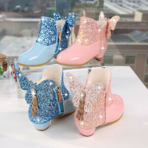 Kids Girls Glitter Sequin Butterfly Zipper Princess Party Ankle Snow Boots Shoes