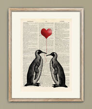 Antique Book page Art Print - Two Penguins with LOVE Heart Balloon Wall Art