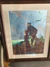 """Norman Rockwell Painting Print 1927""""Framed  To Sea"""" Old Man Boy Dog Sailing Ship"""