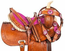 PINK BARREL RACING KIDS SEAT WESTERN SHOW LEATHER PONY SADDLE TACK 10 12