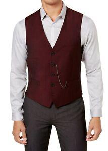 INC Mens Suit Vest Burgundy Red Size Medium M Slim-Fit Chainlink V-Neck $59 087