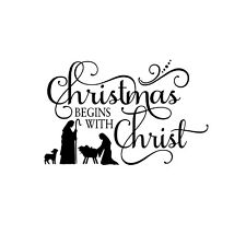 Christmas begins with Christ Unmounted Rubber Stamp - Religious Sentiment #26