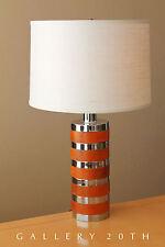 MID CENTURY LAUREL CHROME WOOD TABLE LAMP! Vtg Sonneman Panton Eames Era Atomic