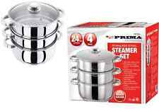 24CM 4PC STEAMER COOKER POT SET PAN COOK FOOD GLASS LIDS 3 TIER STAINLESS STEEL