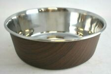 OUR PETS DURAPET Large Dark Wood Stainless Steel Pet Bowl