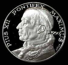 """SILVER PROOF POPE PIUS XII 35.5 GRAM (45mm 1 3/4"""") MEDAL"""