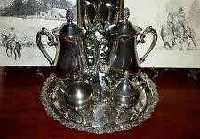 Antique Ranleigh Silver Tea Pot, Coffee Pot, Sugar Pot & Creamer Set