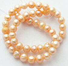 "5X Freshwater Pearl Light Peach 8-9mm Potato Round Bead 16"" Strand W90 WHOLESALE"