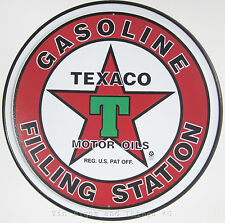 Texaco Gasoline Filling Station ROUND TIN SIGN vtg gas ad metal garage decor 205