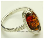 EXQUISITE GENUINE BALTIC AMBER 925 STERLING SILVER RING SIZE 7