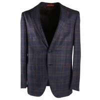NWT $3495 ISAIA Navy Blue Check Wool-Silk-Linen Sport Coat 40 R (Eu 50) Sanita