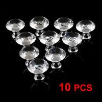 10x Crystal Glass Cabinet Wardrobe Drawer Cupboard Kitchen Pull Handle Knob 30mm
