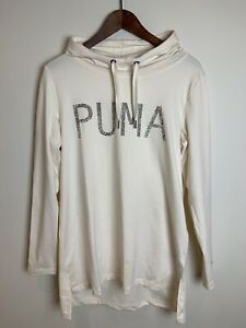 PUMA Size 12 / M Sweater Hoodie Long Sleeve Jumper Ivory Sports Casual